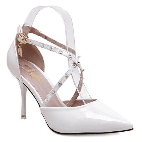 Stylish Rivets and Cross Straps Design Women's Pumps - WHITE 38