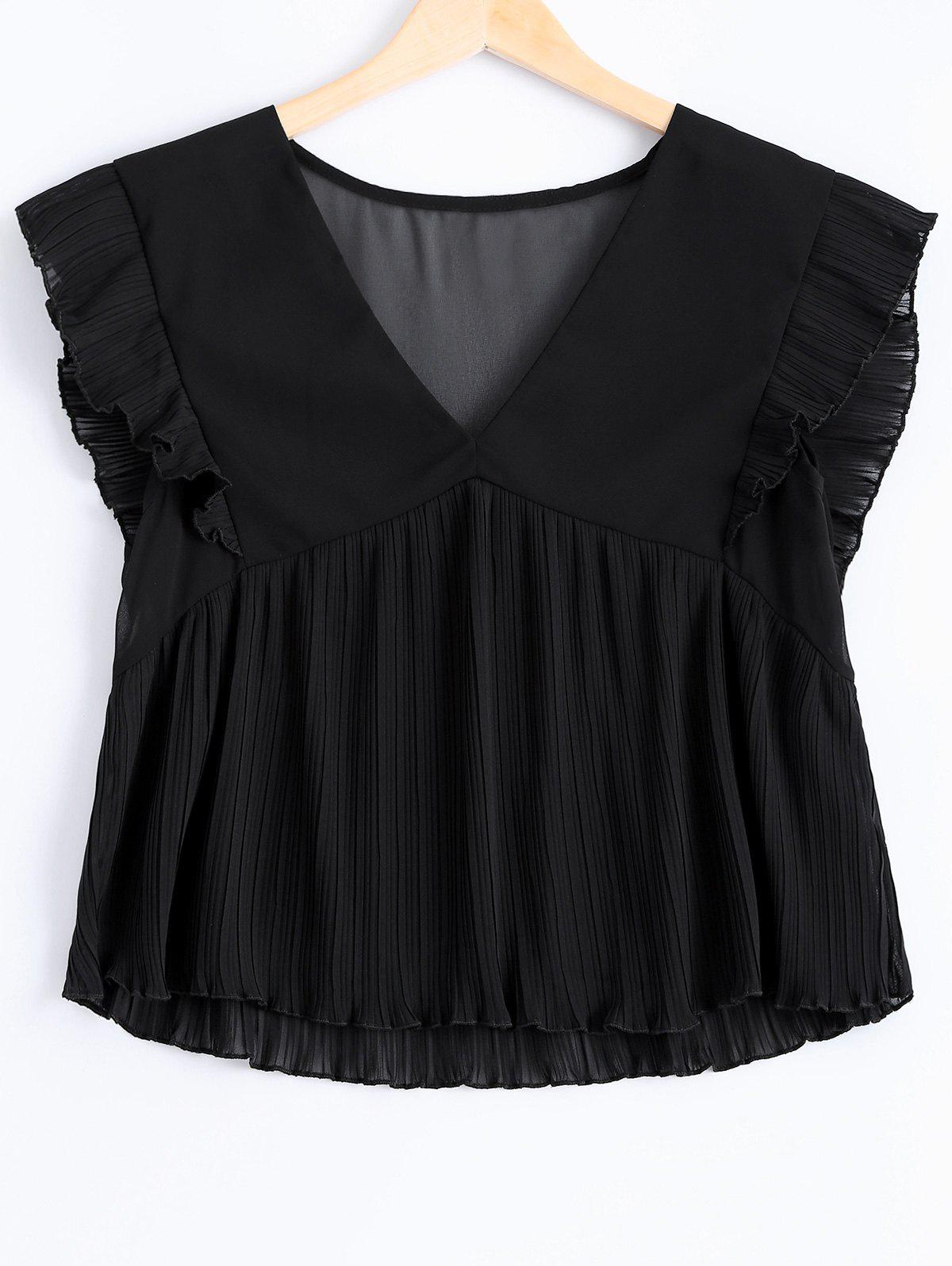 Fashionable Flounce Plunging Neck Fold Tank Top For Women - BLACK ONE SIZE(FIT SIZE XS TO M)