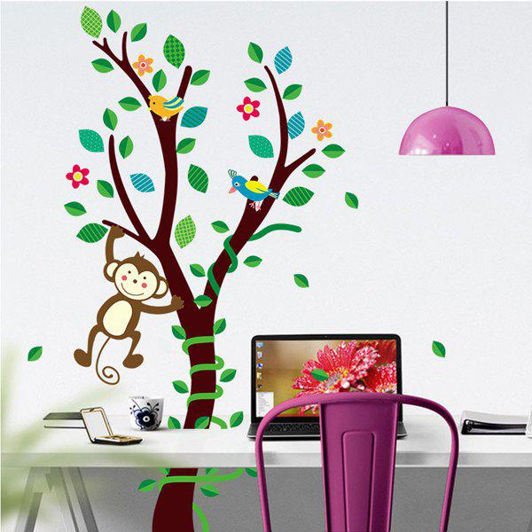 Autocollant Mural Monkey Forest Cartoon Mode amovible DIY Pour Childern - multicolorcolore