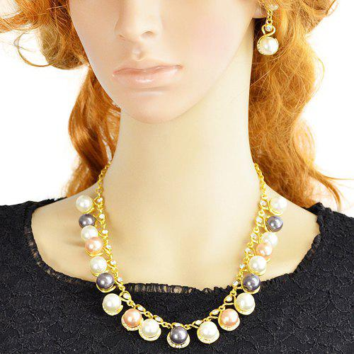 A Suit of Elegant Faux Pearl Circle Openwork Necklace and Earrings For Women - GOLDEN
