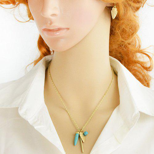 A Suit of Retro Style Turquoise Bead and Bar Necklace and Earrings For Women - GOLDEN