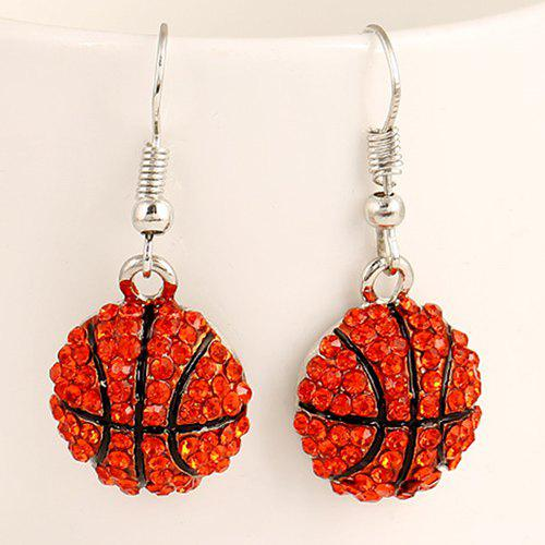 Pair of Stylish Lively Basketball Shape Pendant Athletic Earrings - RED