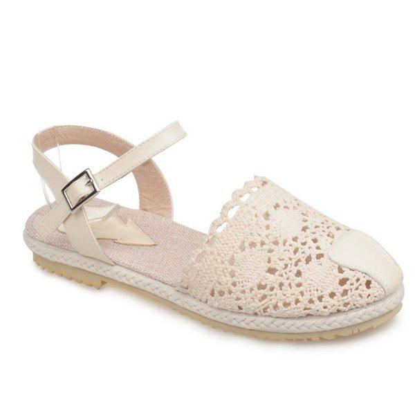 Sweet Knitted and Flat Heel Design Women's Sandals - OFF WHITE 39