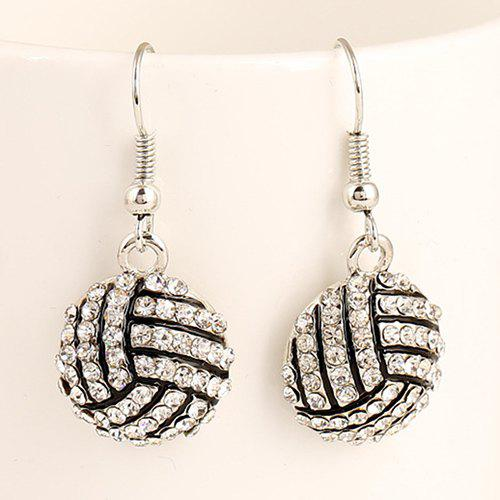 Pair of Volleyball Shape Pendant Athletic Earrings - SILVER