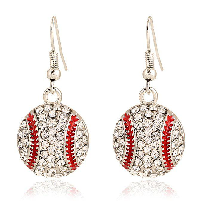 Pair of Baseball Shape Pendant Athletic Earrings - SILVER