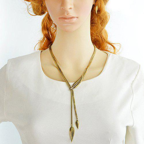 A Suit of Vintage Leaf Shape Pendant Necklace and Earrings - GOLDEN