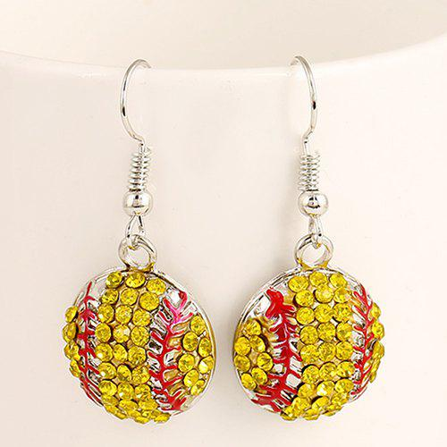 Pair of Stylish Lively Softball Shape Pendant Athletic Earrings