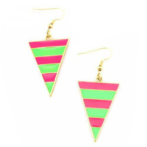 Pair of Striped Triangle Drop Earrings - PINK / GREEN