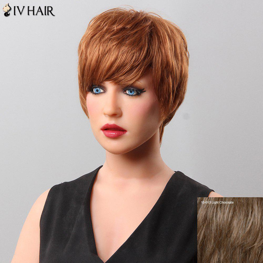 Women's Fluffy Short Side Bang Siv Hair Human Hair Wig