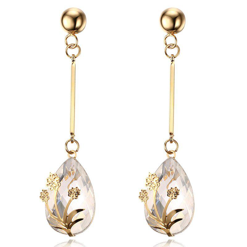 Pair of Vintage Flower Decorated Crystal Teardrop Pendant Earrings For Women - WHITE