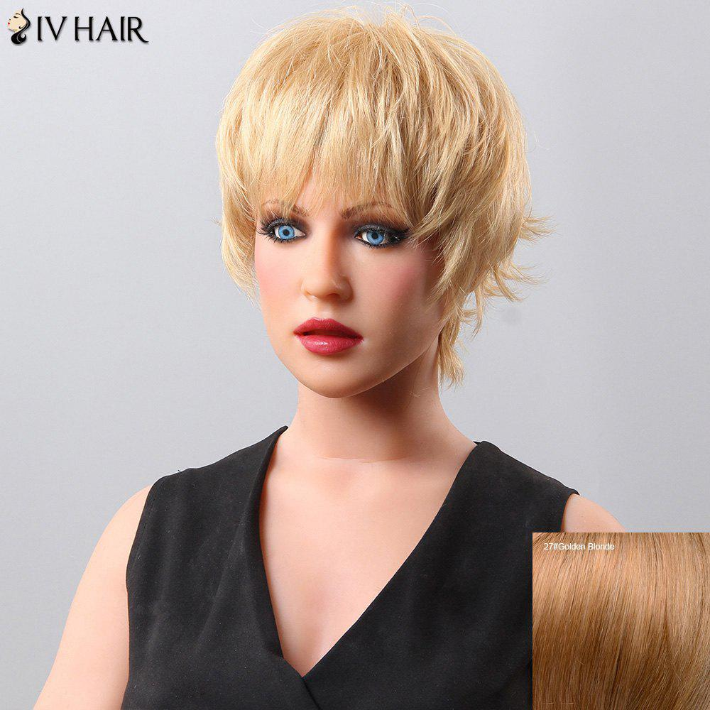 Women's Fluffy Short Neat Bang Siv Hair Human Hair Wig - GOLDEN BLONDE