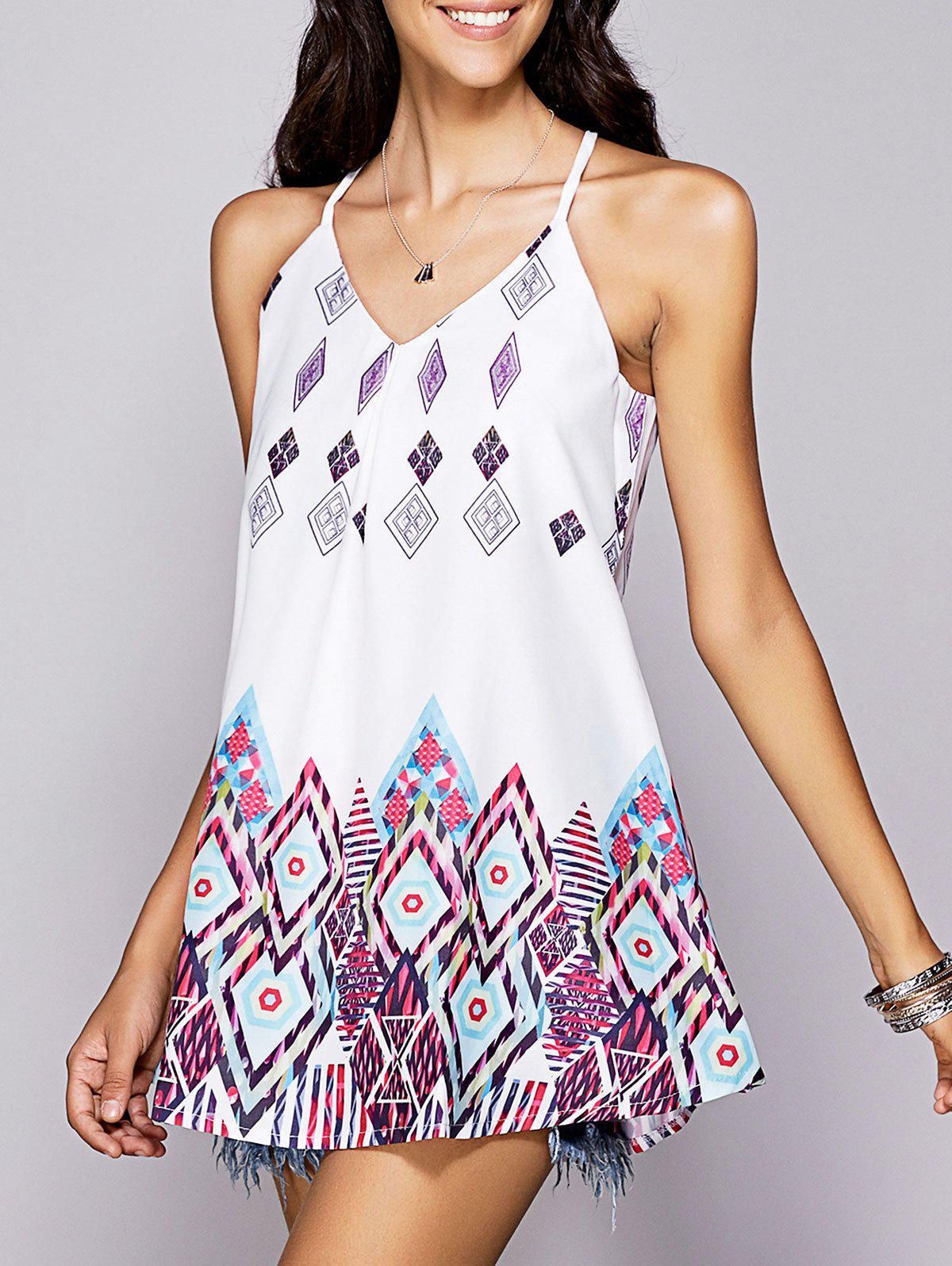 Stylish Womens Strappy Geometrical DressWomen<br><br><br>Size: L<br>Color: WHITE
