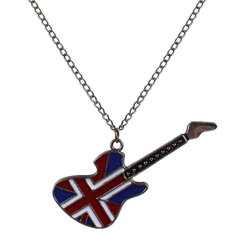 Cool Fashion England Flag Guitar Shape Pendant Retro Sweater Chain - RED