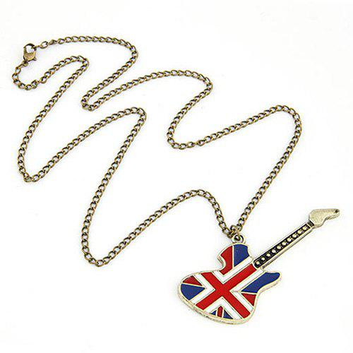 Cool Fashion England Flag Guitar Shape Pendant Rock Style Sweater Chain - GOLDEN