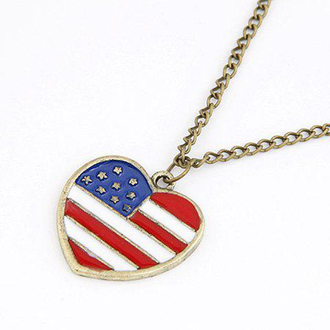 Rock Style American Flag Heart Shape Pendant Sweater Chain - GOLDEN