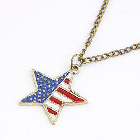 Cool Fashion American Flag Star Shape Pendant Rock Style Sweater Chain