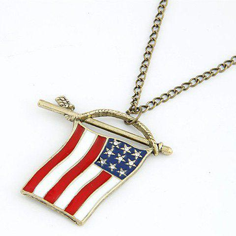 Cool Fashion American Flag Shape Pendant Rock Style Sweater Chain