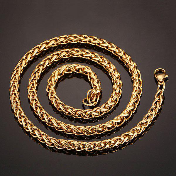 Simple 50CM Length Golden Thick Braided Wheat Chain Necklace For Men - GOLDEN