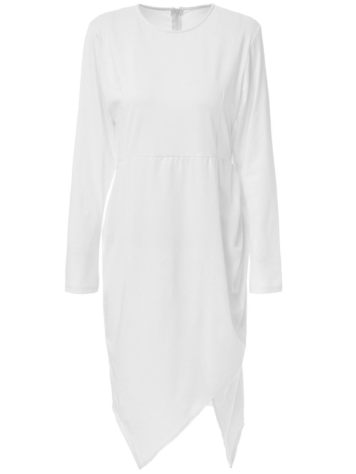 Round Neck Long Sleeve Asymmetrical Plus Size Dress For Women - WHITE 3XL
