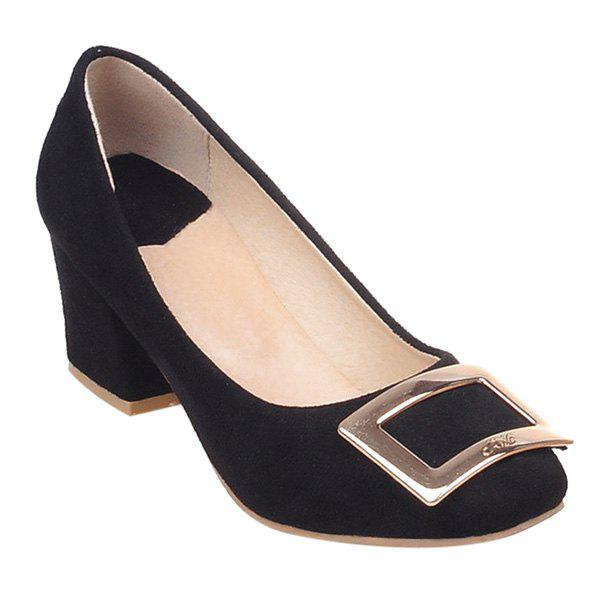 Casual Square Toe and Metal Design Womens PumpsShoes<br><br><br>Size: 39<br>Color: BLACK