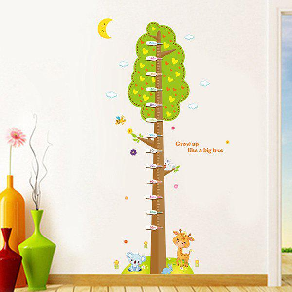 Fashion Cartoon Trees and Animal Pattern Height Chart Wall Sticker For Chidren - COLORMIX
