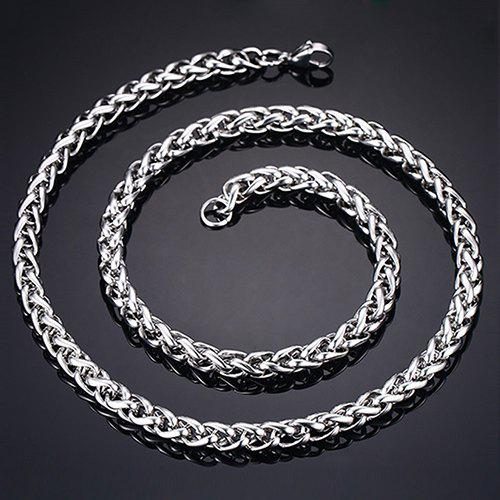 Simple 76CM Length Thick Silvery Braided Wheat Chain Necklace For Men - SILVER