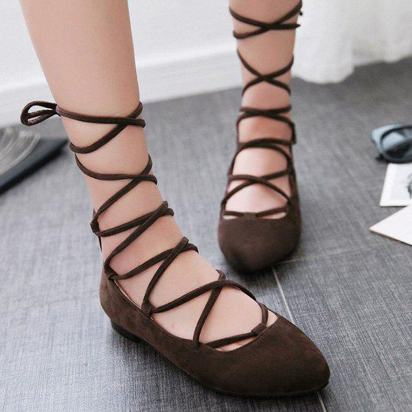 Rome Style Lace-Up and Suede Design Women's Flat Shoes - DEEP BROWN 37