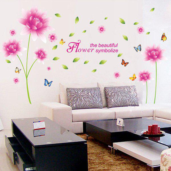 Motif exquis Home Decor Pink Lotus Flower amovible Autocollant Mural DIY - Rose / Vert