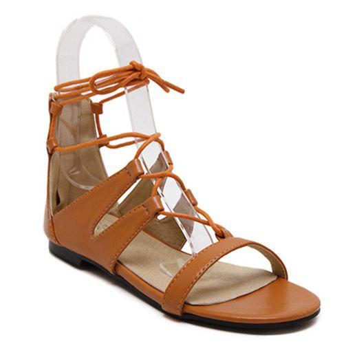 Leisure Lace-Up and Solid Color Design Women's Sandals - LIGHT BROWN 36