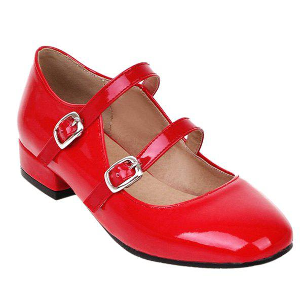 Leisure Patent Leather and Double Buckle Design Women's Flat Shoes - RED 38