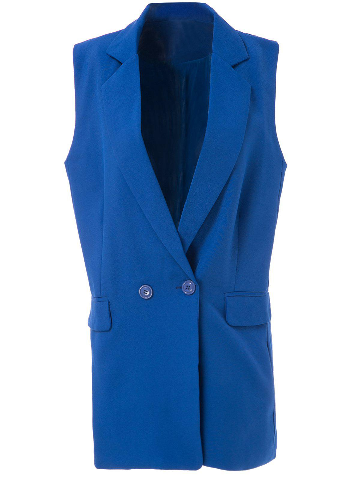 Elegant Shawl Collar Solid Color Bodycon Blazer For WomenWomen<br><br><br>Size: M<br>Color: SAPPHIRE BLUE