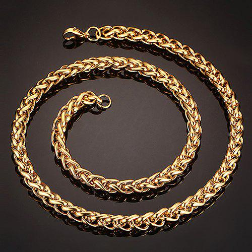 Simple 76CM Length Thick Braided Wheat Chain Necklace For Men - GOLDEN