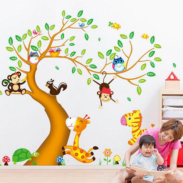 Mode Cartoon Animaux Arbres Motif recto-verso amovible Autocollant Mural DIY - multicolorcolore
