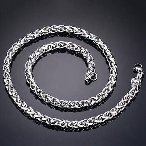 Simple 76CM Length Silvery Thick Braided Wheat Chain Necklace For Men