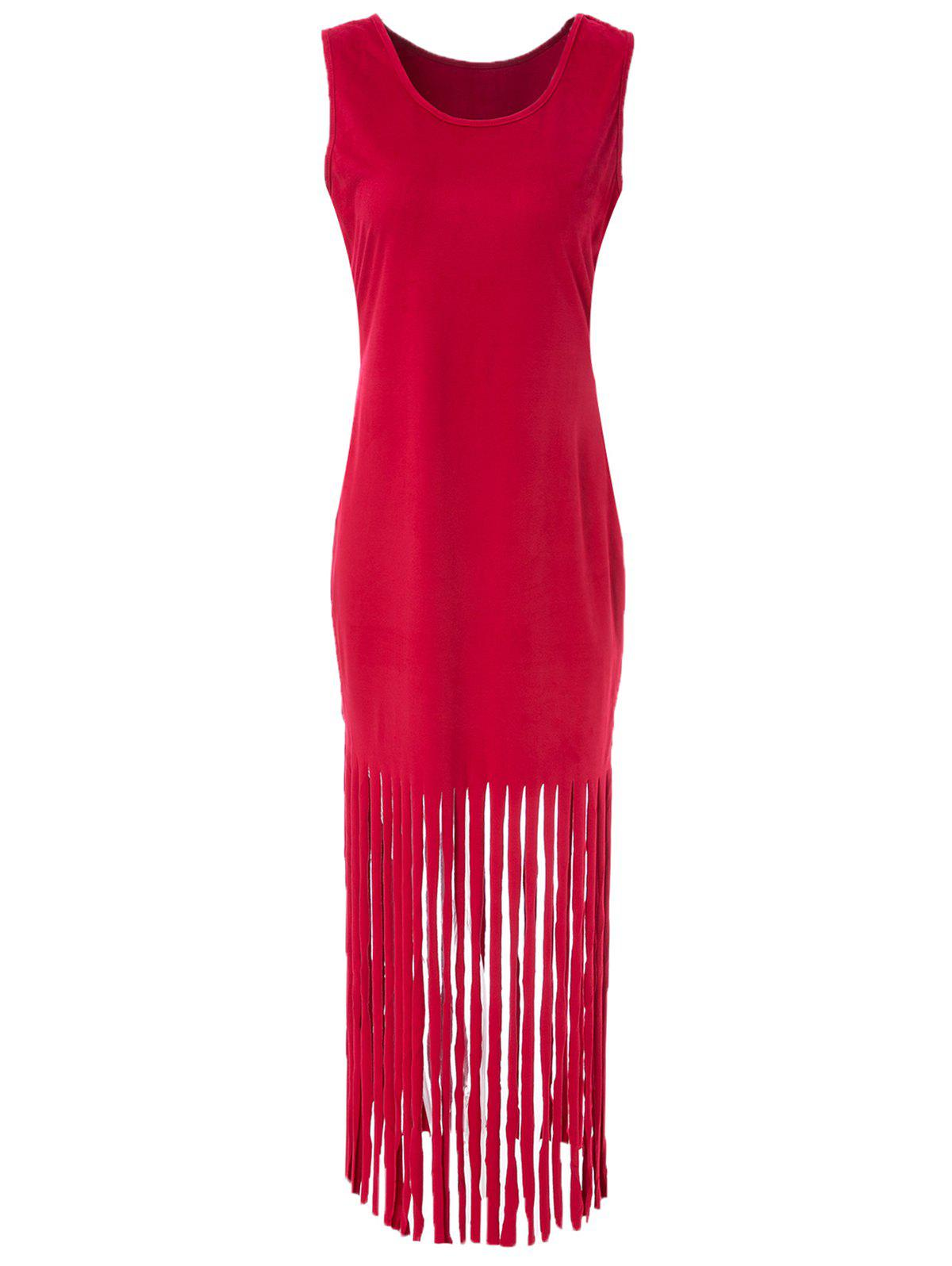 Sexy Scoop Neck Sleeveless Fringed Pure Color Womes DressWomen<br><br><br>Size: 2XL<br>Color: RED