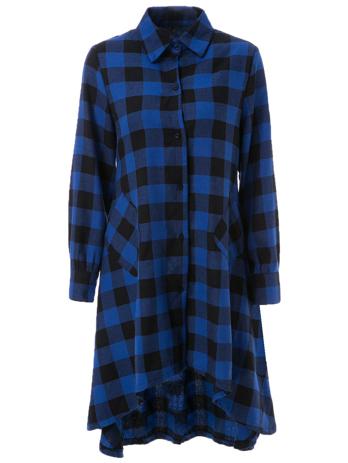 Long Sleeve Asymmetrical Plaid Dress For Women - BLUE/BLACK M
