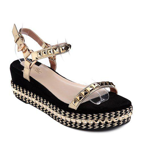 Stylish Platform and Rivet Design Women's Sandals - GOLDEN 39