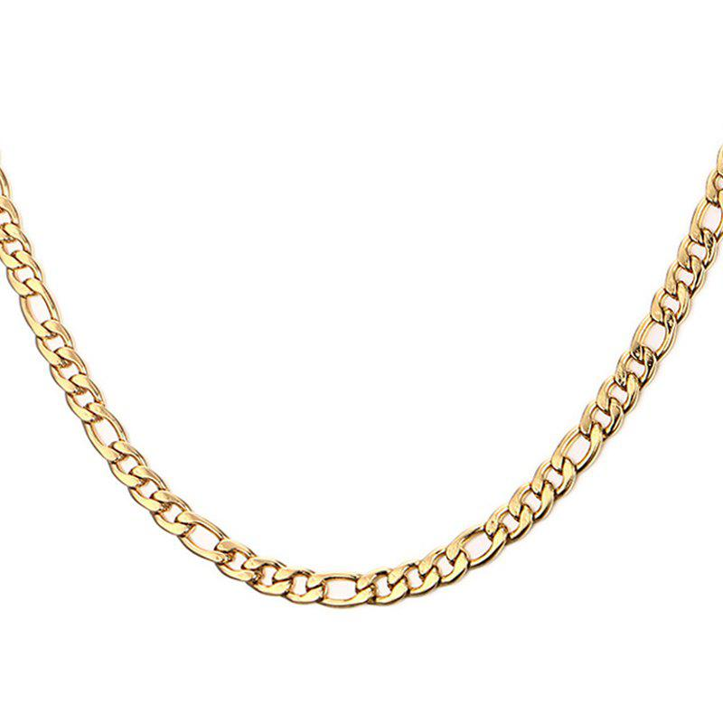 Simple 50CM Length Golden Figaro Chain Necklace For Men - GOLDEN