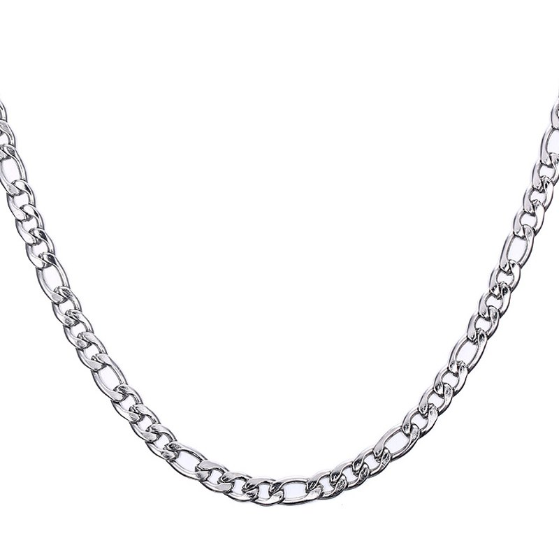 Simple 50CM Length Silvery Figaro Chain Necklace For Men - SILVER