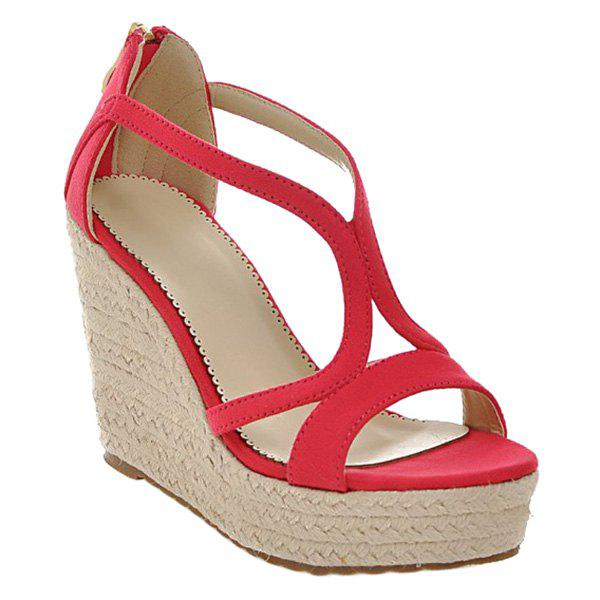 Fashionable Suede and Weaving Design Women's Sandals - RED 38