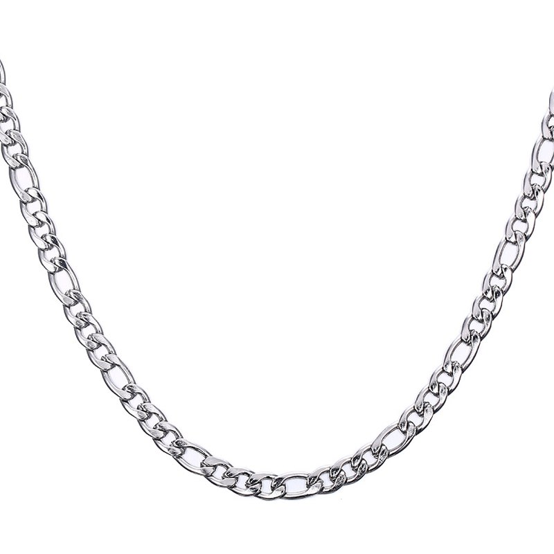 Simple 60CM Length Silvery Figaro Chain Necklace For Men