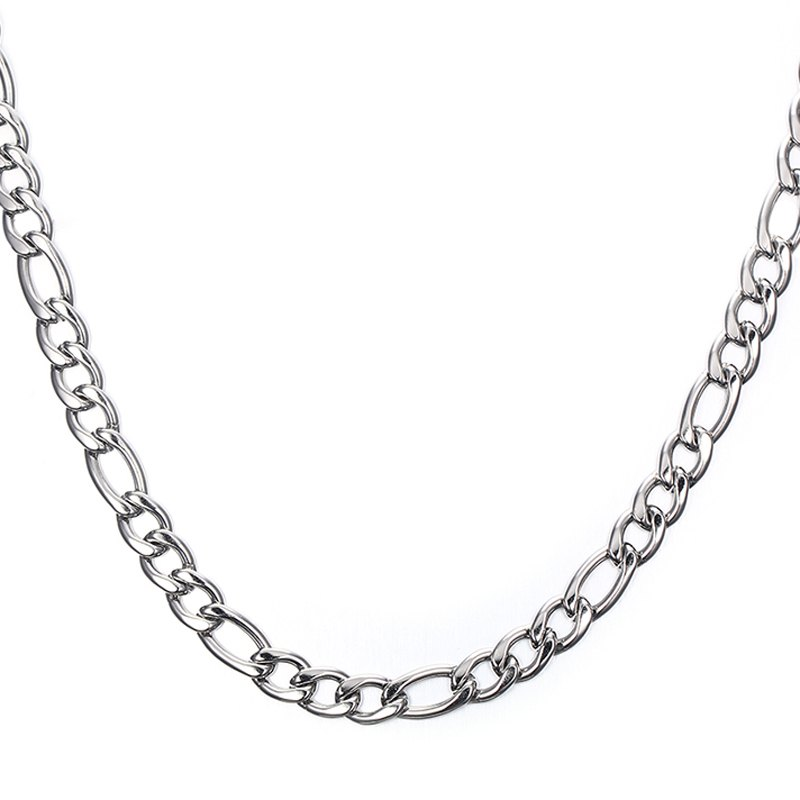 Simple 50CM Length Silvery Thick Figaro Chain Necklace For Men -  SILVER