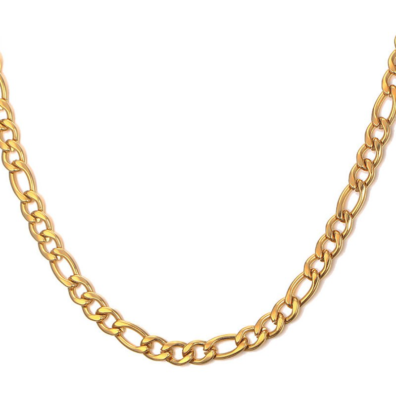 Simple 60CM Length Golden Thick Figaro Chain Necklace For Men - GOLDEN