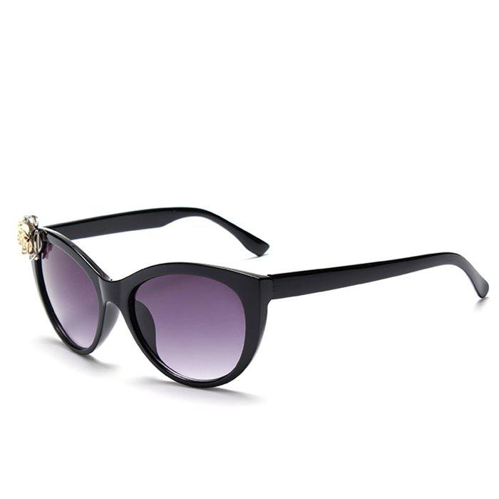 Chic Flower Shape Embellished Women's Cat Eye Sunglasses - BLACK
