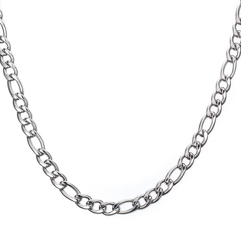 Simple 60CM Length Silvery Thick Figaro Chain Necklace For Men - SILVER