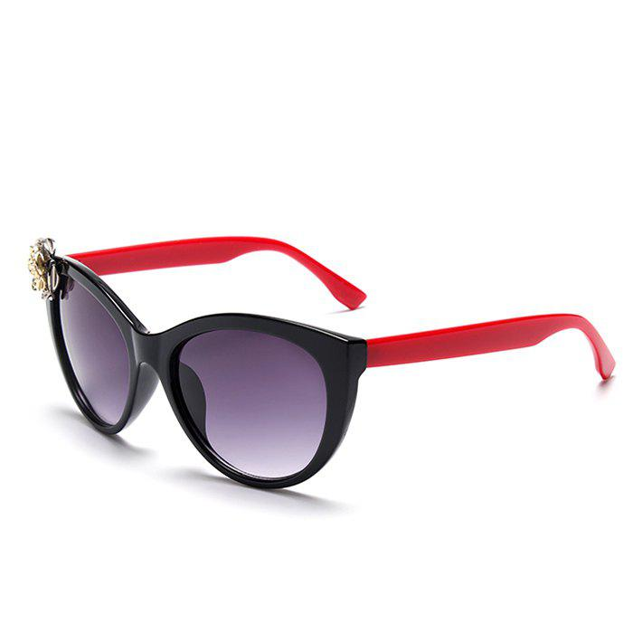 Chic Flower Bicolor Match Women's Cat Eye Sunglasses - RED