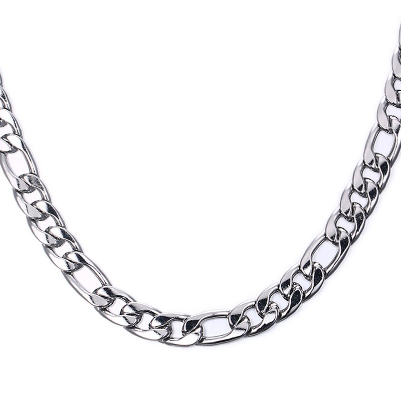 Simple 50CM Length Thick Silvery Figaro Chain Necklace For Men