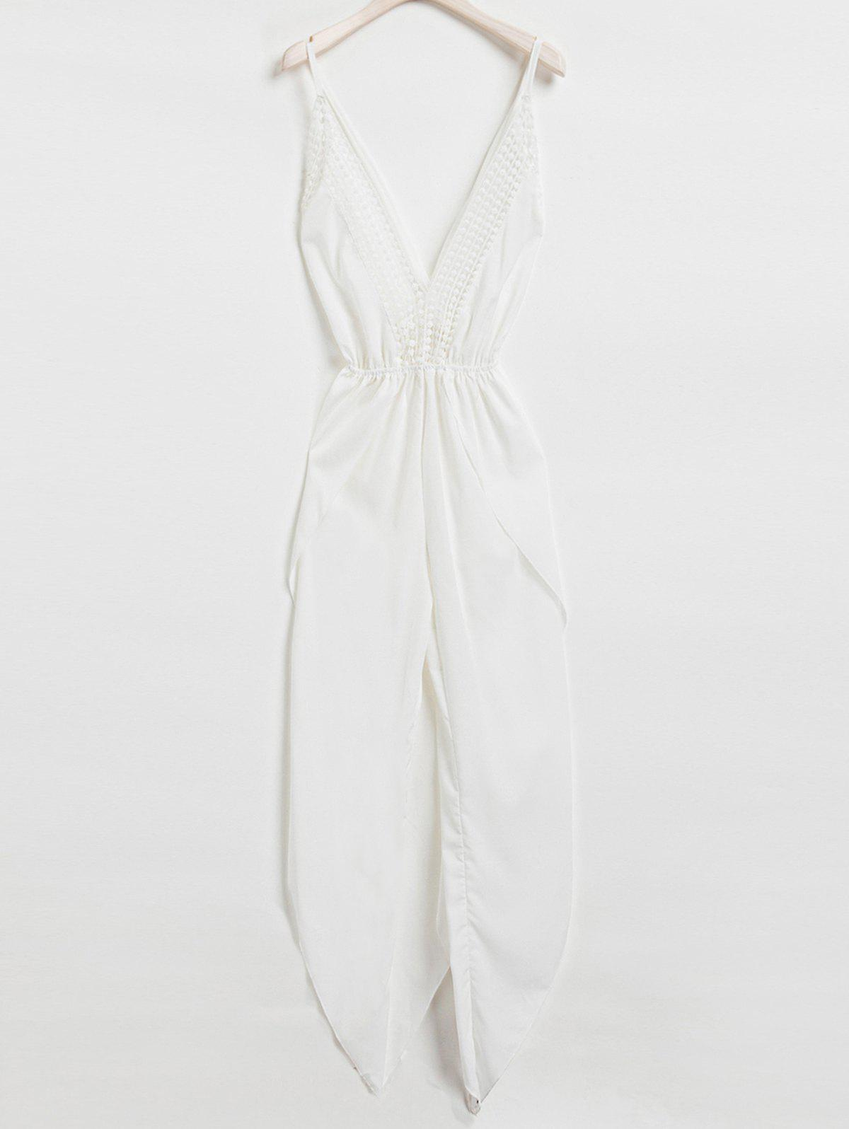 Sexy Sleeveless Plunging Neck White Backless Asymmetrical Jumpsuit For Women sexy plunging neck sleeveless ruffled asymmetrical women s dress