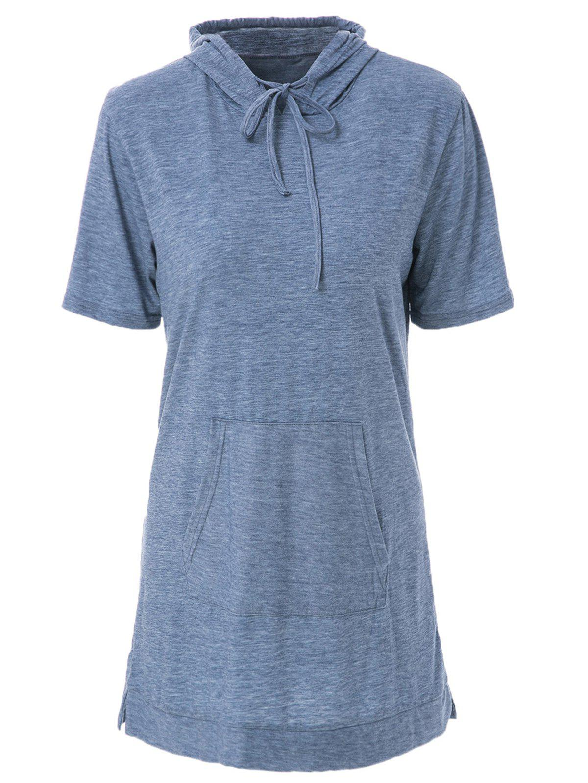 Casual Hooded Short Sleeve Pocket Design Women's Dress