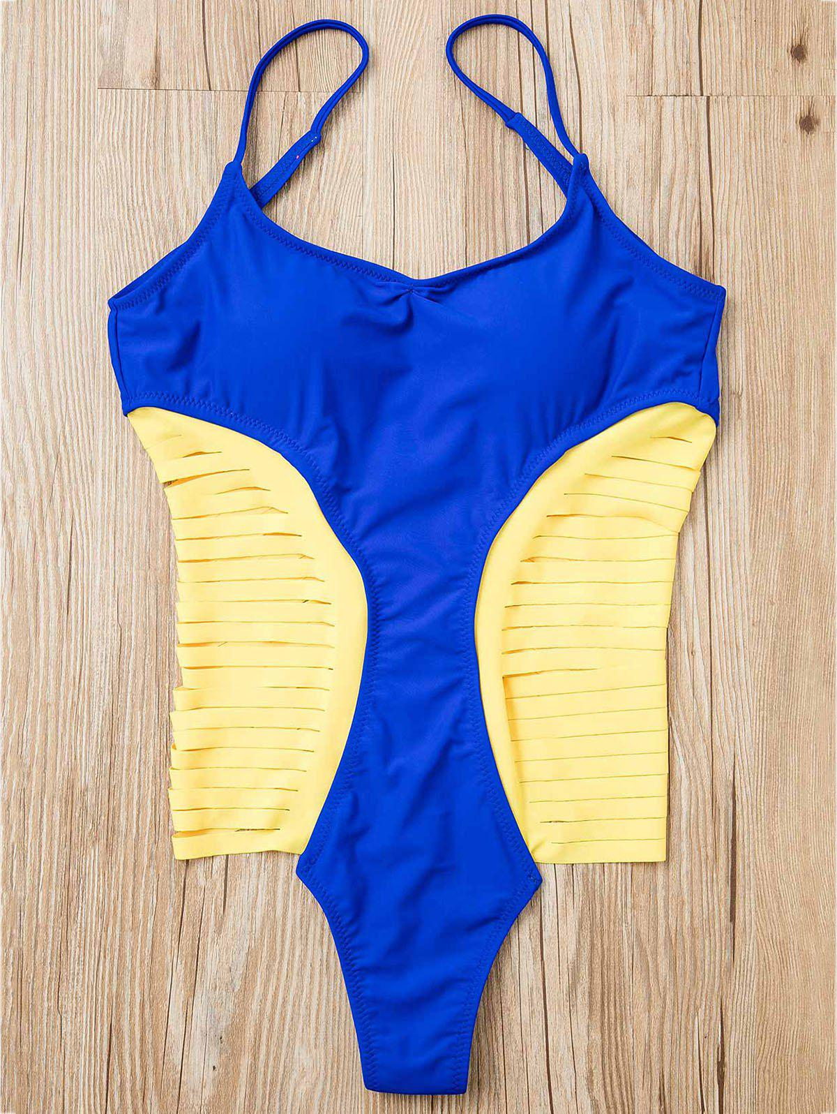 Chic Women's Spaghetti Strap Strappy Hollow Out One-Piece Swimsuit - BLUE M